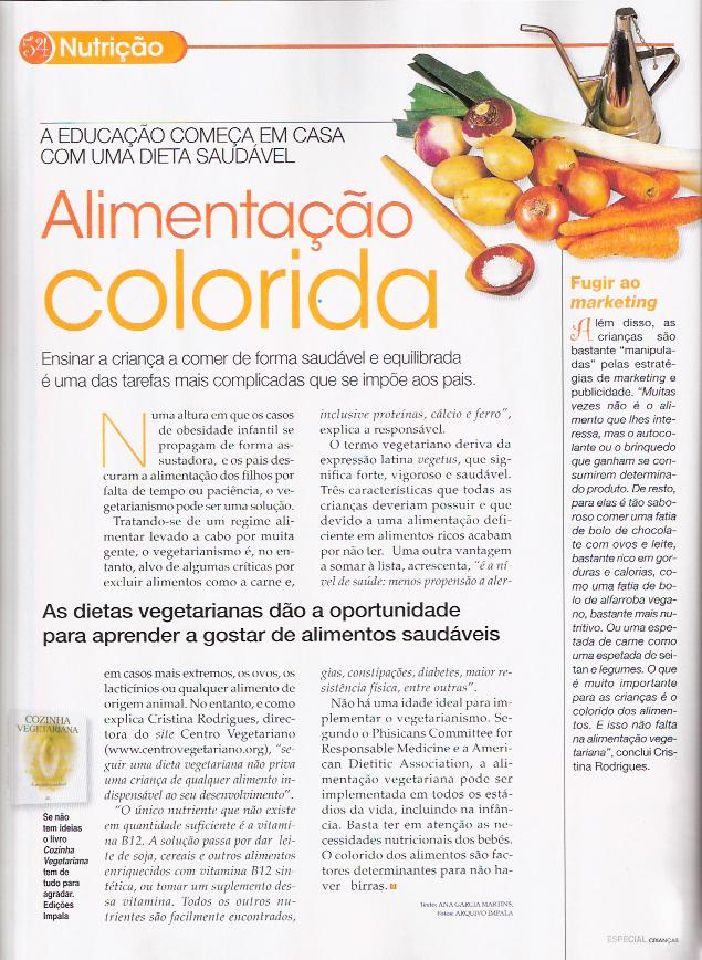 not�cia Alimenta��o Colorida