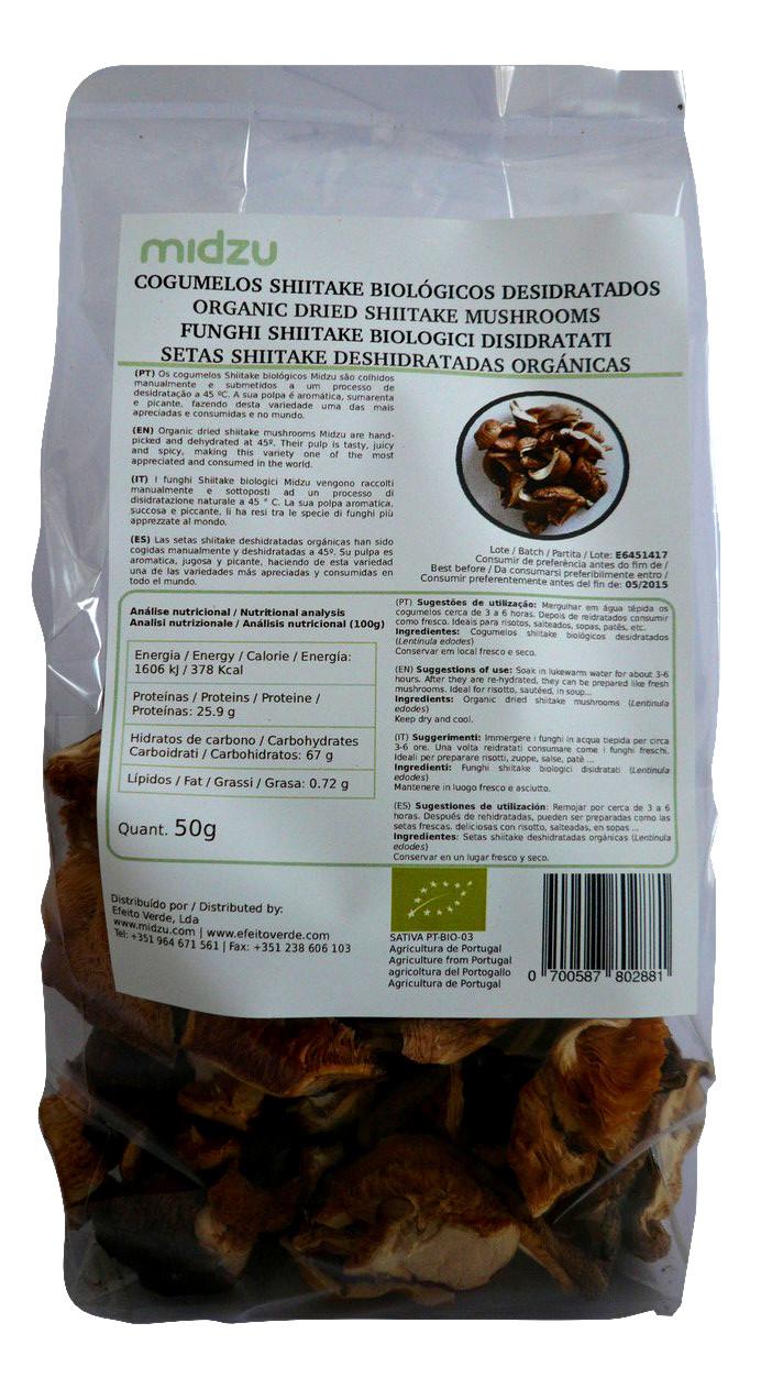 Cogumelos Shiitake desidratados biol�gicos Midzu 50 g