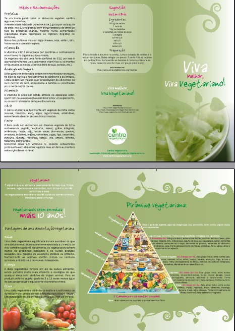 Folhetos Viva Melhor, Viva Vegetariano (100 unid.)