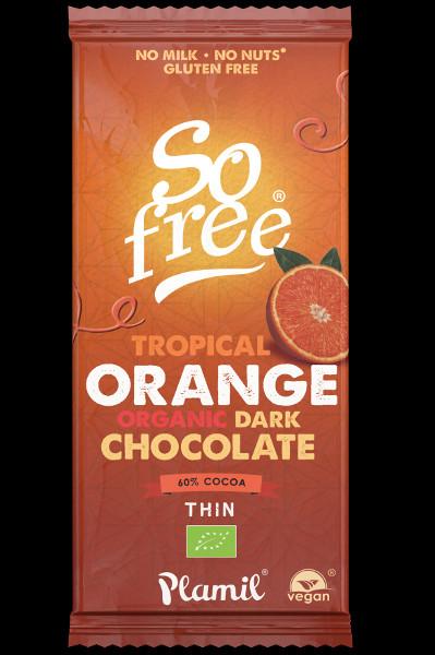 Chocolate preto biológico com laranja tropical 80g - sem glúten