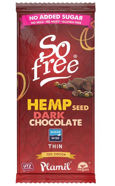 Chocolate sem açúcar com cânhamo 70g - sem glúten