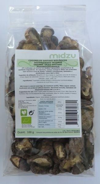 Cogumelos Shiitake desidratados biológicos inteiros Midzu 100 g
