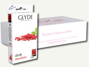 Preservativos Slim Fit Morango Glyde (10 unid.)
